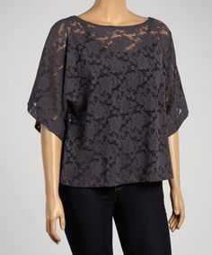This Dantelle Anthracite Lace Cape-Sleeve Top - Plus by Dantelle is perfect! #zulilyfinds