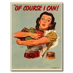 Vintage Retro Vrouwen WW2 natuurlijk kan ik! Briefkaart