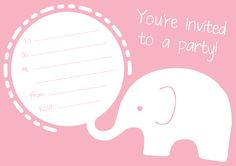 FREE Pink Elephant Party Invitation