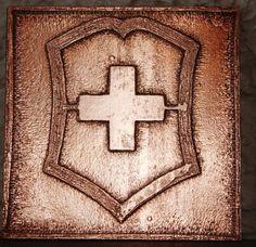 A copper victorinox plaque