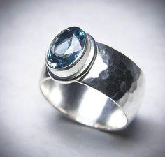 London Blue Topaz Ring. Gemstone Ring. Hammered Sterling Silver Ring. Wide Domed Silver Ring. December Birthstone