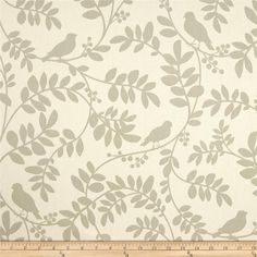 """Dwell Studio Botany Flora Twill Taupe  50"""" Wide Drapery Panels, Set of 2, Also Valance, Roman Shade, Living Room, Bedroom, Kitchen $180 per pair plus $30 more for lining. grommets, per pair. This comes in med. blue, very pretty but doesn't go with our heron prints on wall."""