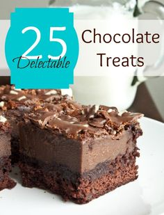 Oh my - some of these recipes looking sensational!! if only I could eat dairy. On my list of desserts to cook for guests. 25 great Chocolate Dessert Recipes #chocolate #recipes