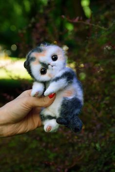 Memebon kitten Realistic toy by MonkeyBusinessToys. Pets toys & Fantasy creatures from faux fur and polymer clay, Realistic Stuffed Animals toys for kids and adults