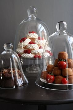 Glass cloches as dessert covers....so elegant!