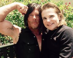 "tovahfeldshuh: Norman and I on ""portrait day"" for TWD // Sealed with a kiss! The soldier and the senator //"