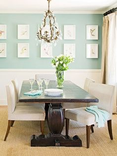 Great dining room in beige, aqua, and brown