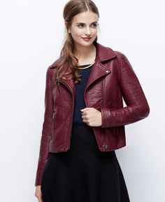 Ann Taylor Faux Leather Moto Jacket in Red (Winterberry)