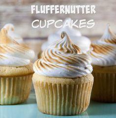 Fluffernutter Cupcakes | peanut butter cupcakes | marshmallow frosting | fluffernutter recipes | cupcakes | cupcake recipes