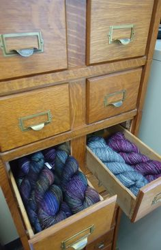 Old Card Catalog for yarn stash!  Love it! this is why i have been on the hunt for a card catalog