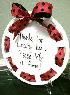 Ladybug Party Ideas | Handwritten Plate with Polka Dot Ribbon | Ladybug Birthday