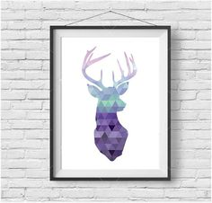 Lavender Deer Print, Lavender Deer Art, Deer Poster, Scandinavian Print, Lavender Print, Purple Print, Mint Print, Pink Print, Wall Art