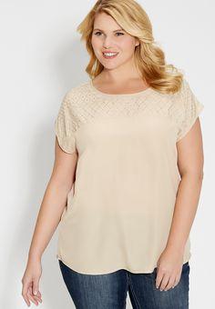 plus size chiffon blouse with rhinestone embellished yoke - #maurices