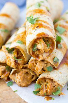 Honey BBQ Slow Cooker Chicken Taquitos - Kristine's Kitchen