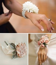 Discover thousands of images about 101 Wrist Corsages Ideas For Debs & Prom Bracelet Corsage, Flower Bracelet, Hand Flowers, Prom Flowers, Wedding Flowers, Corsage Wedding, Wedding Sash, Wedding Bouquets, Dusty Rose Wedding