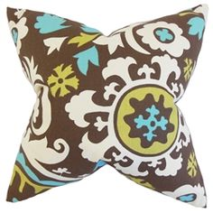 Spruce up your interiors with this throw pillow. This accent piece features a unique floral pattern in shades of brown, white, blue and green. Toss this anywhere inside your home where it needs styling and comfort. Made of 100% soft and plush cotton material. Crafted in the US. $55.00 #floralprint  #tosspillow  #pillows  #homedecor  #interiorstyling