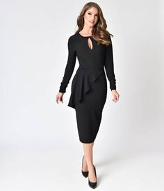 For modern Betties! A fitted marvel, the Christina Dress by Bettie Page is a fabulous take on a classic vintage Pin-up dress style. Made in the USA in a marvelous woven crepe, the classic scoop neckline boasts a sultry center keyhole while elegant long sl