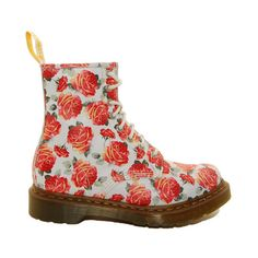 dr. martens 1460 valentine rose 8 eye boot R11821612 ($120) ❤ liked on Polyvore featuring shoes, boots, ankle booties, zapatos, footwear, women, dr. martens, dr martens boots and rose boots