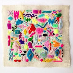 """SCATTERINGS AUCTION  This is a rare opportunity to pick up one of my pieces off-list! Scatterings wall hanging in yarn on hessian (12.5"""" x 12""""). Bidding starts at £50. Please leave your bid in British pounds in the comments and see my previous post for details.  Thank you and have fun!"""