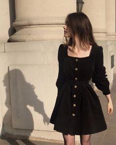 The Black Corduroy Belted Dress as seen on constance d Aesthetic Fashion, Look Fashion, Aesthetic Clothes, Korean Fashion, Fashion Jobs, Aesthetic Outfit, 2000s Fashion, Fashion Websites, School Fashion