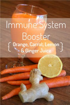 Orange, Carrot, Lemon & Ginger Juice This classic juicing recipe is full of vitamins and nutrients that will naturally give you immune system a boost – great for keeping winter colds at bay! Juice Drinks, Juice Smoothie, Smoothie Drinks, Detox Drinks, Detox Juices, Carrot Smoothie, Ginger Smoothie, Fruit Juice, Healthy Juices