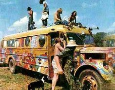 """The Hippie Movement emerged as did communal living (sometimes in a bus or VW van painted brightly) """"Free Love - Free Sex"""""""