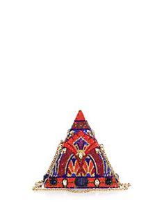 Judith Leiber - Swarovski Crystal & Sodalite Pyramid Clutch