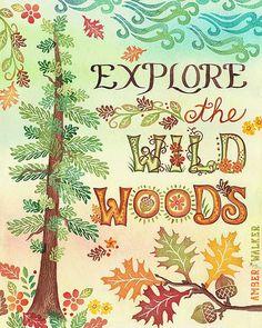 """Wild Woods"" vertical print on fine art paper by Amber Walker of WeWalkWest Studio on Etsy, $8.00 www.amberwalkerart.com"