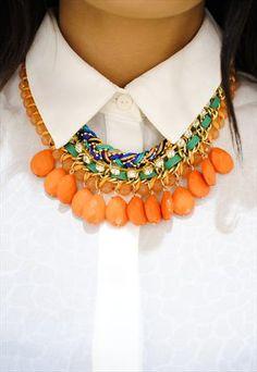 Olivia Tribal Inspired Statement Necklace In Orange £15.99