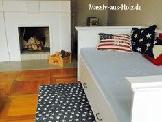No doupts – das Bett mit Lehne  Schubladen ist ein toller Blickfang im Wohnzimmer. Ich mag seine weiße Farbe und die schlichte Form. www.massiv-aus-holz.de #wohnzimmer #wohnzimmerideen #livingroomdecor #livingroom #livingroomdesign #bedroomdecor #geustbedroom #gästezimmer #betten #lehne #bettmitbettkasten #bettmitlehne #wandbett #couch #sofa #sofabed #schlafcouch #schlafcouche #weisseswohnen #whiteliving #einrichtung #einrichtungsideen #möbel #massivholzmöbel #furnitureinspiration #traumhaft Furniture Inspiration, Toddler Bed, Kids Rugs, Contemporary, Modern, Kiefer, Home Decor, Rose, Instagram