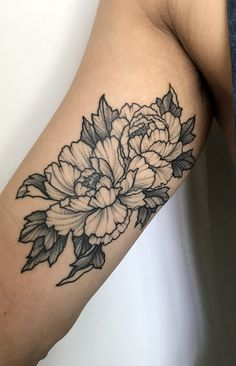 Peonies tattoo by Perry Smick @ Heretic Tattoo in Melbourne, Australia