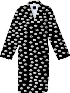 #White #Polka #Dots #Black Cotton #Robe from Print All Over Me