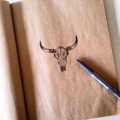 Little Bull Skull dotwork drawing van Lakotastyle op Etsy
