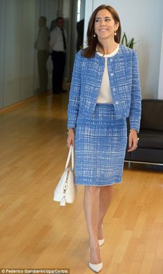 HRH Mary, Crown Princess of Denmark, Countess of Monpezat, wearing a stylish tweed suit.