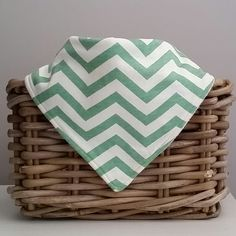 Green Chevron Dribble Bib/ Bandana Bib