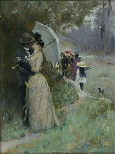 A kiss under the parasol by Luděk Marold, 1895