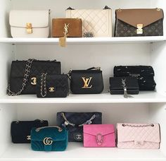 YSL, bag, and fashion image Chanel Handbags, Purses And Handbags, Bag Closet, Sacs Design, Handbag Storage, Bag Display, Givenchy, Louis Vuitton, Cute Bags