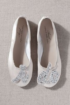 "These ballet-inspired satin flats are emblazoned with a glittery ""I do"" on the toe, perfect to wear when getting ready! Sparkly Wedding Shoes, Wedding Boots, Comfy Wedding Shoes, Glitter Wedding, Wedding Hair, Wedding Jewelry, Bride Flats, Shoes Flats Sandals, Flat Shoes"
