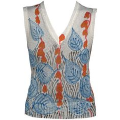 De Redly - De Redly Hand Painted Tank Top Leaf Motif 1970's ❤ liked on Polyvore featuring tops and red top