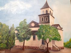 First Friends Church -oil painting shows the First Friends Church in Whittier as it looked in the 1900.