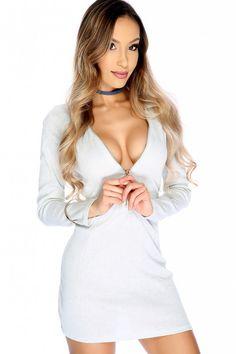 Sexy Light Grey High Polish Zipper Long Sleeve Casual Dress