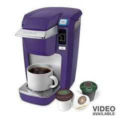 KeurigMINI Plus Personal Coffee Brewer... IN PURPLE!!! Got this for my college dorm room for next year:) can't wait to use it
