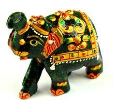 435 Ct Ebay Outstanding Home Decorative Green Jade Elephant Figurine-Gold Work