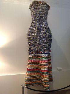 Dress made of candy wrappers. Designer/artist Virpi Vesanen-Laukkanen, Finland