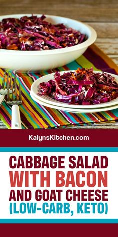 Best Low Carb Recipes, Best Salad Recipes, Salad Dressing Recipes, Diet Recipes, Red Cabbage Salad, Cabbage And Bacon, Green Cabbage, My Favorite Food, Favorite Recipes