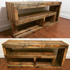 "Pallet media console. 72"" x 32"" x 18. Designed to store vinyl in the bottom right shelf next to the slide out turntable deck to left (not pictured). Finished with citrus bees wax."