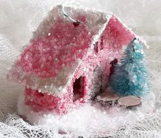 Vintage Retro Putz Style Miniature Red Glitter Sugar House via Etsy.