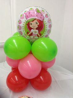 Strawberry Shortcake balloon centerpiece shellysdecor4you@gmail.com #Birthdays #BabyShowers #Graduations etc...