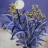King Silk Art 100% Handmade Embroidery Unframed Yellow Orchids Shining Under The Blue Moon Oriental Wall Hanging Art Asian Decoration Tapestry Artwork Picture Gifts 36014B