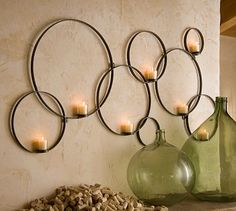 Shop circles wall-mount votive holder from Pottery Barn. Our furniture, home decor and accessories collections feature circles wall-mount votive holder in quality materials and classic styles. Candle Wall Decor, Diy Wall Decor, Candle Sconces, Wall Decorations, Iron Wall Decor, Hanging Candles, Unique Wall Decor, Decor Room, Bedroom Decor